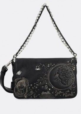Bolso cadena de mano y bandolera, negro constelación de ANEKKE