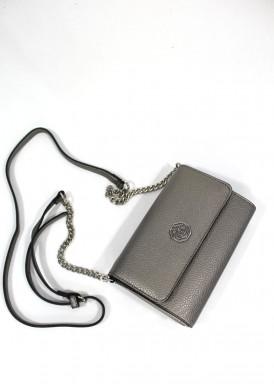 Bolso pequeño  monedero gris-plata, bandolera estrecha con cadena plateada. CHARRO