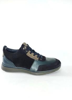 Zapato deportivo cordón azul marino de piel y nobuck de Bola 22