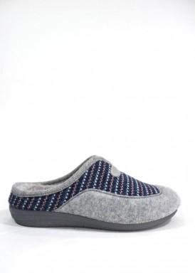 Zapatilla de casa descalza mujer punto gris y azul . Laro