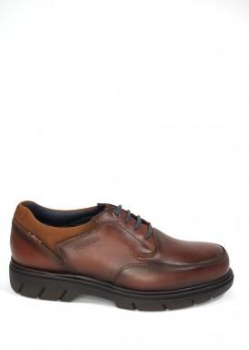 Zapato cordón piso alto marrón. Tolino