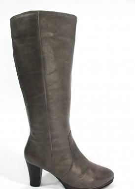 Bota caña alta cremallera  tacón 7 cm. Color gris. Bosettini