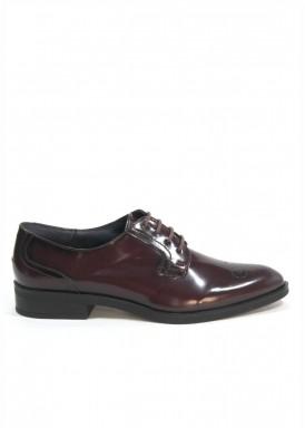 Zapato  piel sebago burdeos oscuro, cordón, vestir. Tolino