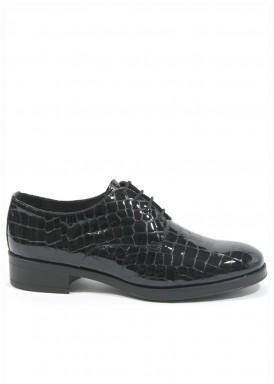 Zapato cordón charol grabado en coco. Negro. Carla Rosetti