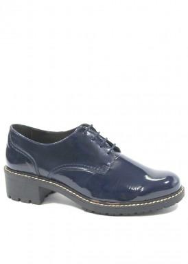 Zapato cordón charol  Azul marino.  Carla Rosetti