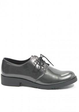 Zapato cordón charol  color  gris metalizado.  Calzados Tomás.