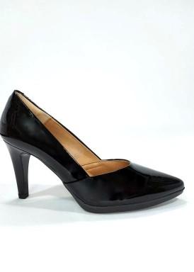 Zapato salón  charol tacón 8 , negro Desireé