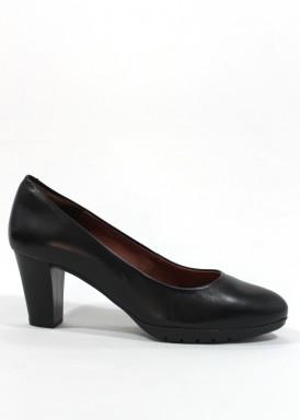 Zapato salón  piel confortable, tacón ancho 5 cm. Negro.Desireé