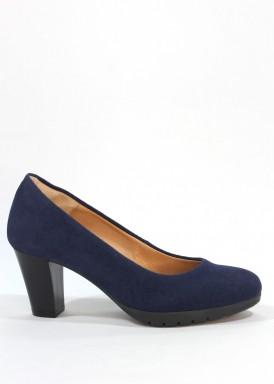 Zapato salón ante confortable, tacón ancho 5 cm. Azul marino. Desireé.