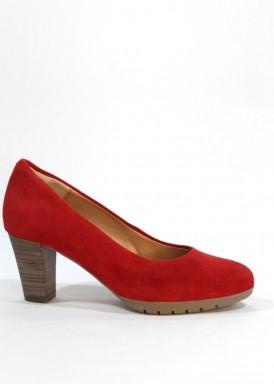 Zapato salón de ante tacón ancho 5 cm. Rojo.Desireé