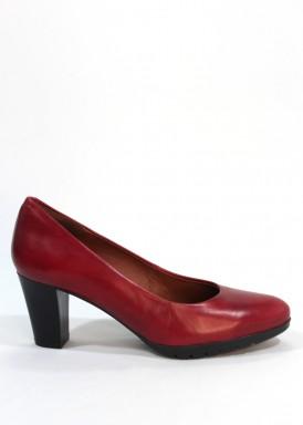 Zapato salón  piel confortable, tacón ancho 5 cm. Granate. Desireé.