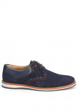 Zapato de cordón  liso en serraje. Color  Azul marino.  Bola 22