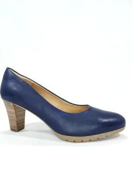 Zapato salón tacón ancho 5 cm. Azul jeans.Desireé