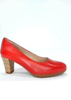 Zapato salón tacón ancho 5 cm. Rojo.Desireé