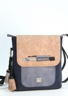 Mochila combinado azul marino-azul claro y taupe. Solapa reversible. Dogsbybeluchi