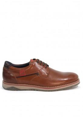 Zapato cordón liso piso recto.Marrón claro.  Fluchos.