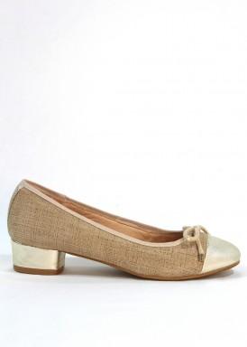 Zapato  salón francesita ante grabado y piel .  Beis-taupe. Tacón 2,5 cm. MIPASCU