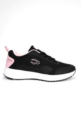 Zapatillas deportiva mujer running negro y rosa con piso blanco  de Jonh Smith