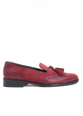 Zapato mocasín borlas, ante y piel grabada, tacón bajo 2 cm. Losal