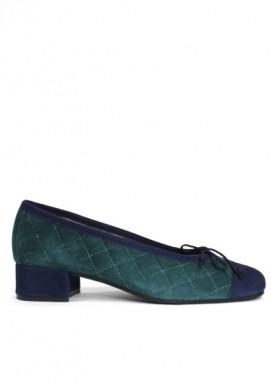 Zapato salón  cordoncillo, ante azul y verde, tacón 3 cm. Colección Ragazza de Roldán