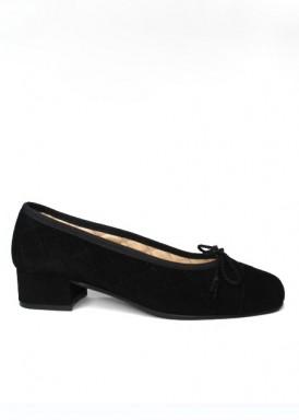 Zapato salón  cordoncillo, ante negro, tacón 3 cm. Colección Ragazza de Roldán