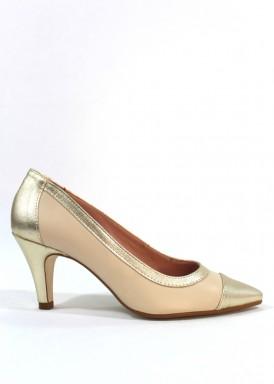 Zapato salón piel. Beis y dorado. Tacón 6 cm.  Bosettini