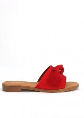 Sandalia plana descalza de serraje con adorno lazada. Rojo. Bola 22