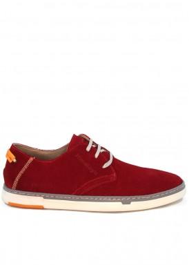 Zapato de hombre de cordón en serraje. Rojo. HIMALAYA