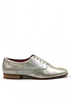 Zapato cordón mujer de piel en dorado y plateado. TUBOLARI