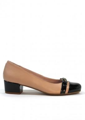 Zapato vestir tacón 3 cm., piel rosa palo y charol negro.Bosettini