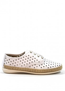 Zapatilla deportiva de piel troquelada de mujer, con cordón, color blanco. Bola 22