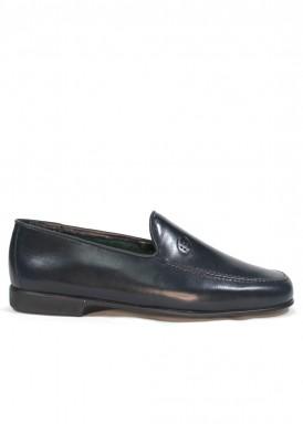 Zapato mocasín hombre de piel suave y piso flexible. Color Azul marino. TOLINO