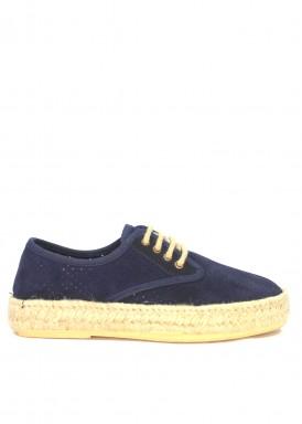 Zapato de serraje de cordón con piso de esparto. Color marino.  Calzados Subirán