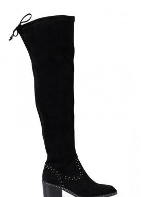 Bota corsaria, caña alta nobuck negro. Tacón 4 cm . Alma en Pena