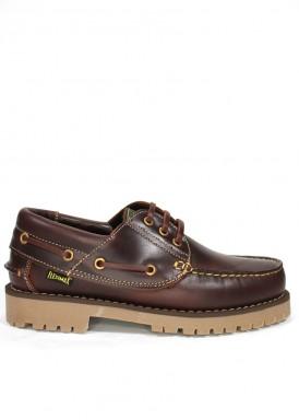Zapato náutico de hombre de piel  con cordón. Color marrón rojizo. FLEXIMAX