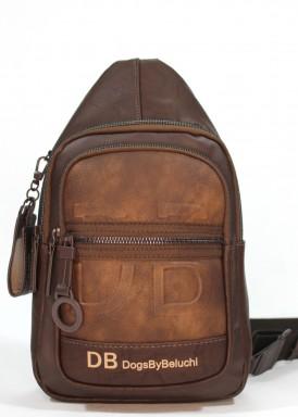 Bolso mochila  hombre  pequeña .Marrón. DOGSBYBELUCHI