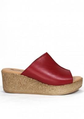 Sandalia de piel descalza de cuña y plataforma. Color rojo. MIPASCU