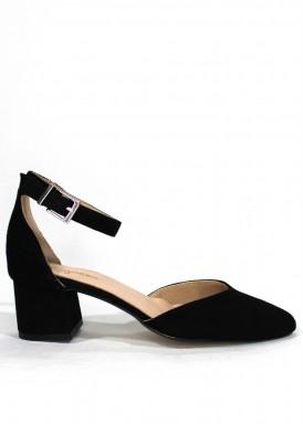 Zapato de ante mujer, puntera y talón cerrados. Negro. Tacón 4 cm. ROLDÁN