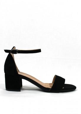 Sandalia vestir ante, tacón 4 cm. Color negro. DESIREE