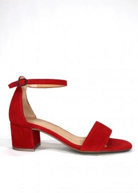 Sandalia vestir ante, tacón 4 cm. Color rojo. DESIREE