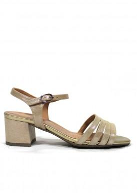 Sandalia vestir piel , tacón 4 cm. Color dorado. DESIREE