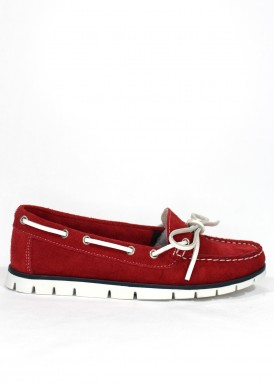 Mocasín de serraje tipo nautico ,  flexible . Color rojo. BOLA 22