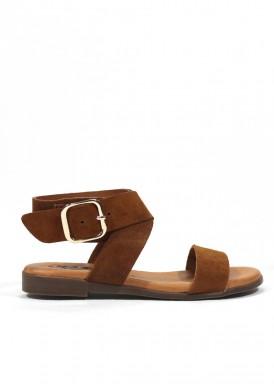 Sandalia de serraje, color cuero, piso plano., KAOLA