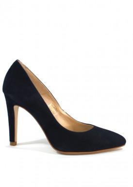 Zapato salón ante. Azul marino. Tacón 9 cm. Angel Alarcón.