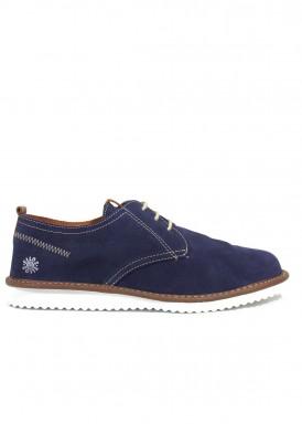 Zapato nobuck de cordón, estilo casual azul marino, de piso ligero blanco. EXPLORER TEAM