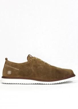 Zapato nobuck de cordón, estilo casual, color taupe, de piso ligero blanco. EXPLORER TEAM