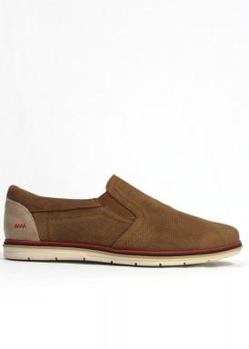 Zapato serraje picado de elásticos laterales, color taupe. EXPLORER