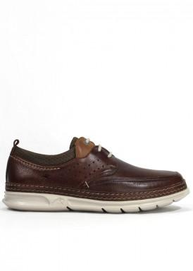 Zapato de cordón de piel, ancho especial. Color marrón claro. Estilo casual. FLUCHOS