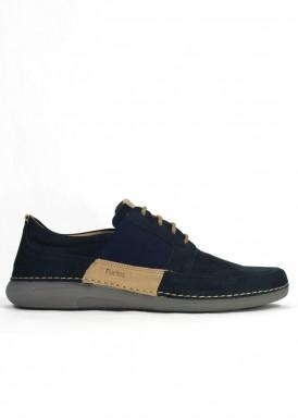 Zapato estilo casual de nobuck suave, especial pies delicados. Azul marino. FLUCHOS