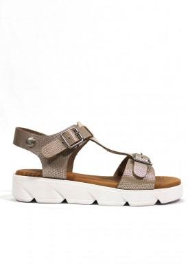 Sandalia de piel de piso plano alto. Color dorado. TRISOLES